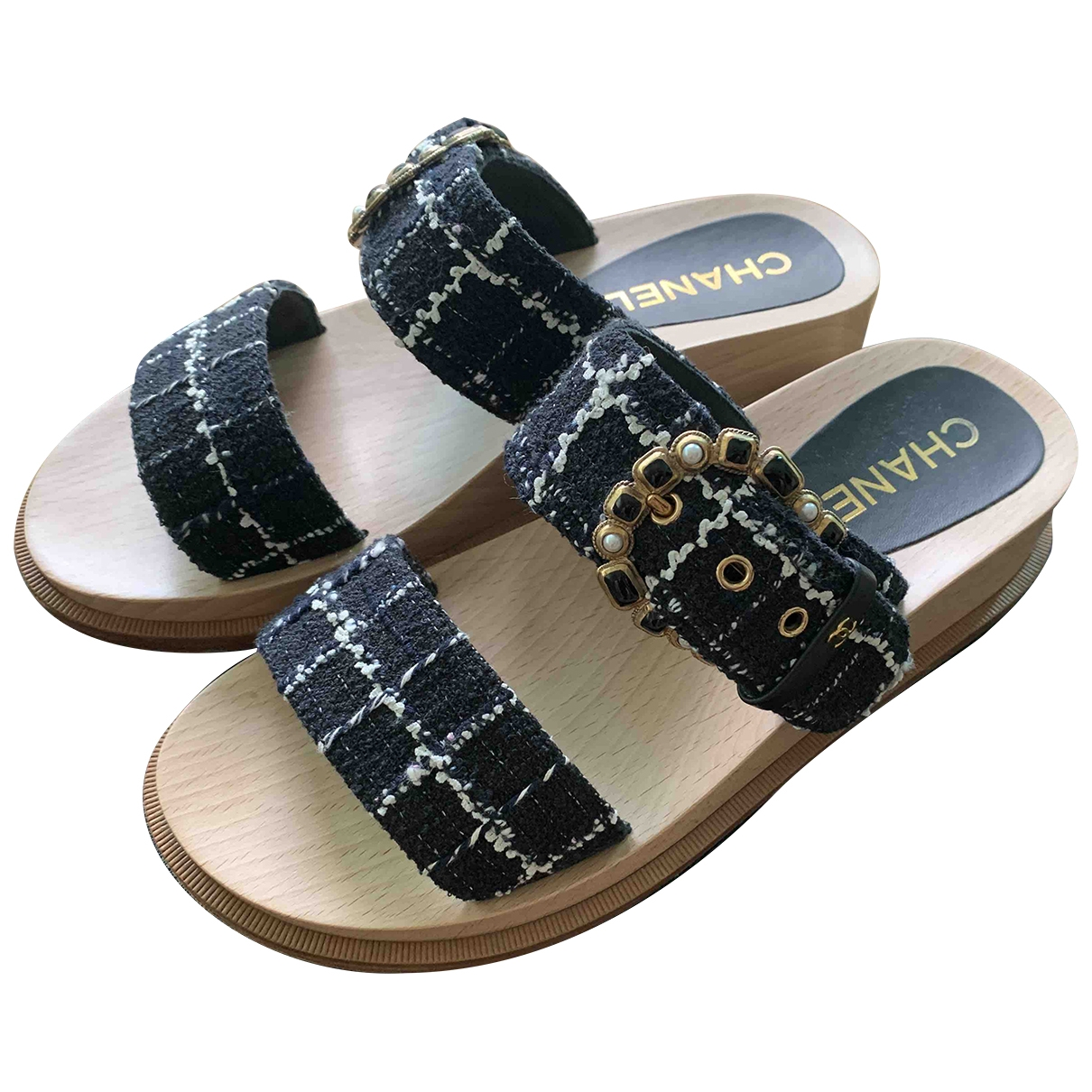 Chanel - Sandales   pour femme en tweed - bleu
