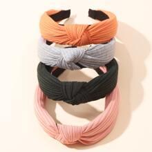 4pcs Ribbed Cross Knot Hair Hoop