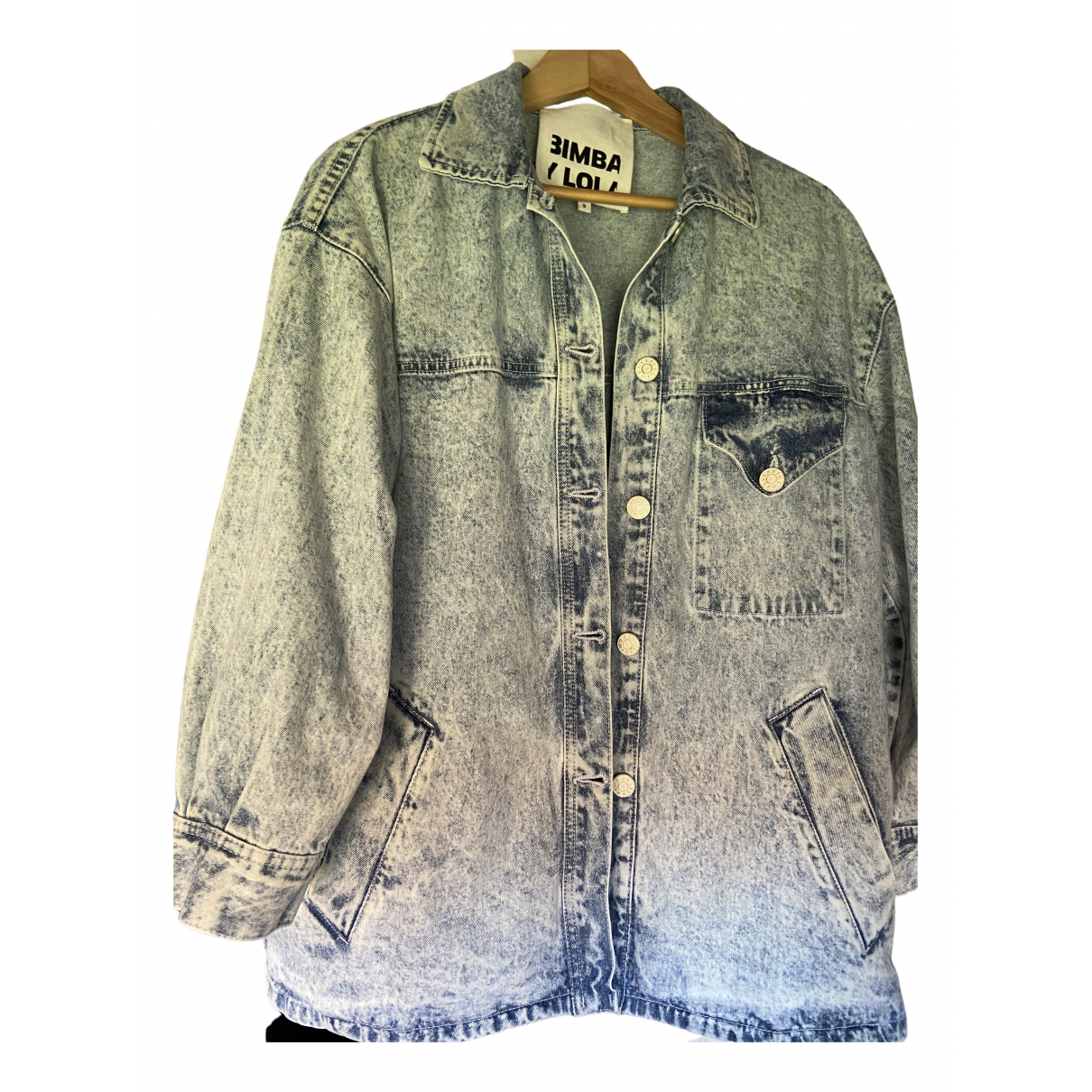 Bimba Y Lola N Blue Cotton Leather jacket for Women S International