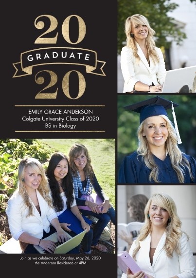 2020 Graduation Announcements 5x7 Cards, Premium Cardstock 120lb with Elegant Corners, Card & Stationery -2020 Grad Simple Banner by Tumbalina