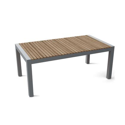 Seville TB-7339DT 73 Rectangular Dining Table with Teak Wood and Aluminum Construction in Grey 170 Grit Powder