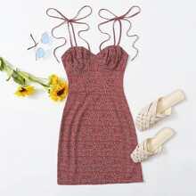 Tie Shoulder Ruched Bust Ditsy Floral Dress