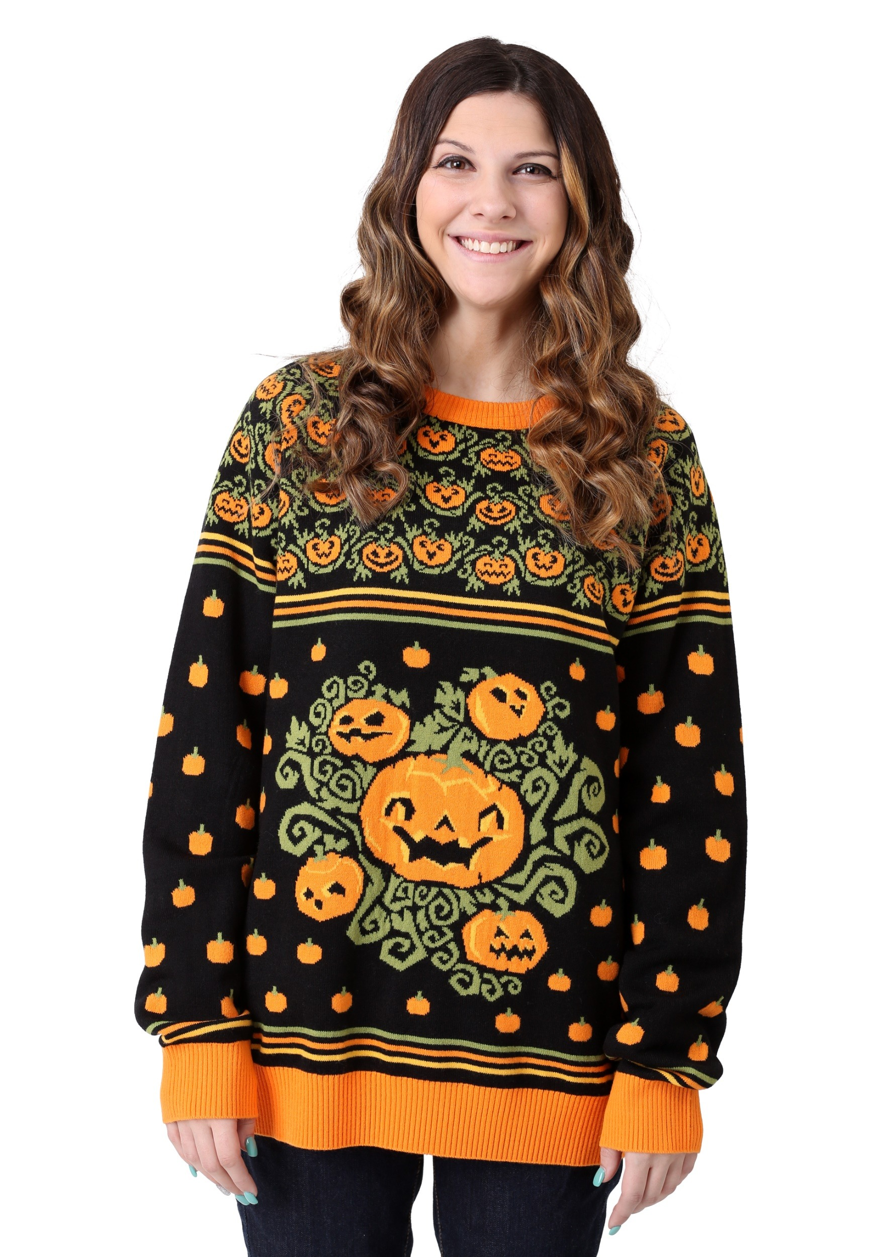 Pumpkin Patch Halloween Sweater for Adults   Exclusive