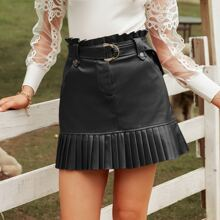 Paperbag Waist Belted Leather Look Pleated Hem Skirt