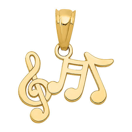Music Notes Womens 14K Gold Pendant, One Size , No Color Family