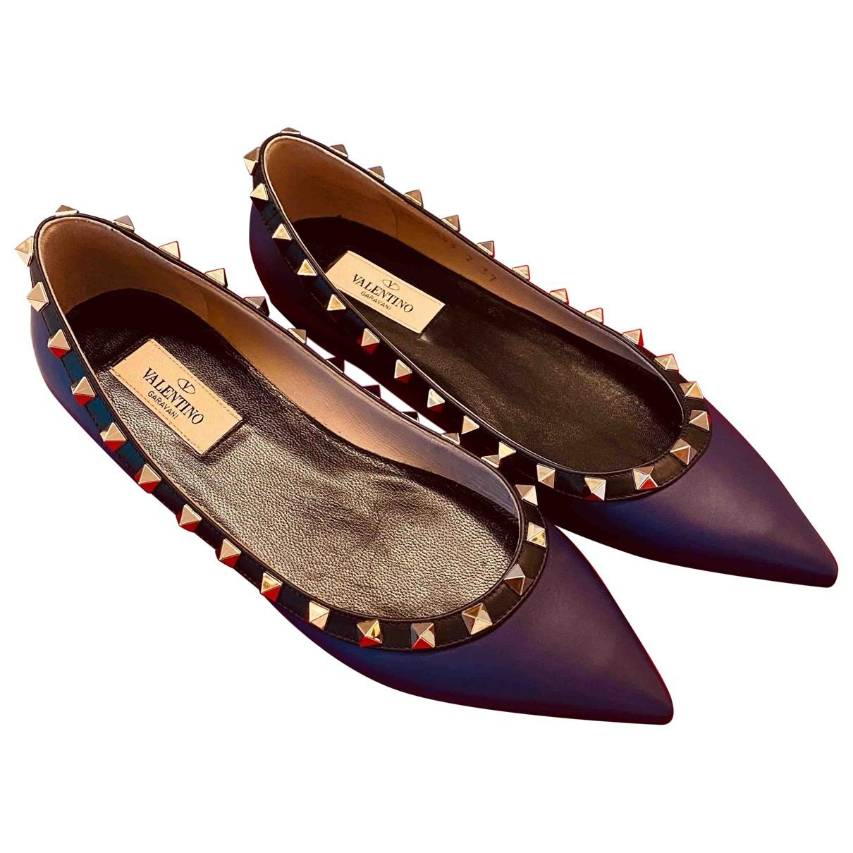 Valentino Garavani Rockstud Purple Leather Flats for Women 37 EU