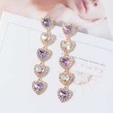 1pair Crystal & Rhinestone Decor Heart Shaped Drop Earrings