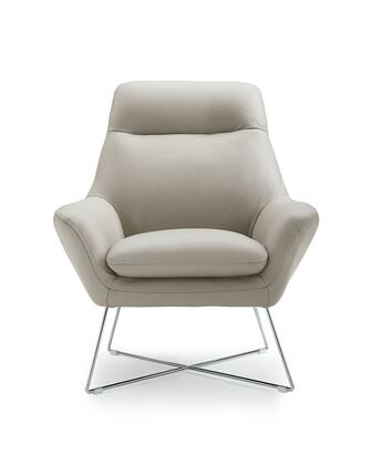 Daiana Collection CH1352L-WHT Chair with Flared Armrest  Modern Style  X-Shaped Base  Stainless Steel Legs and Top Grain Italian Leather Upholstery