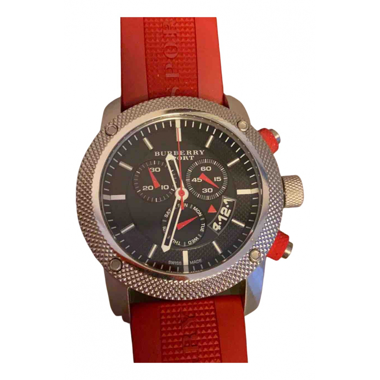 Burberry \N Uhr in  Rot Stahl