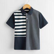 Polo Shirt mit Streifen und Farbblock