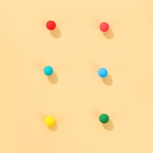 3pairs Toddler Girls Round Ball Stud Earrings