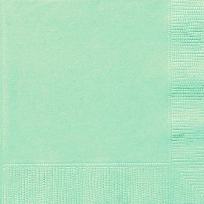 Party Beverage Napkins Solid Color 25*25cm 10*10In 2-Ply Mint 20Pcs