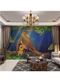 3D Big Bird and Little Girl Harmonious Night Printed 2 Panels Custom Sheer