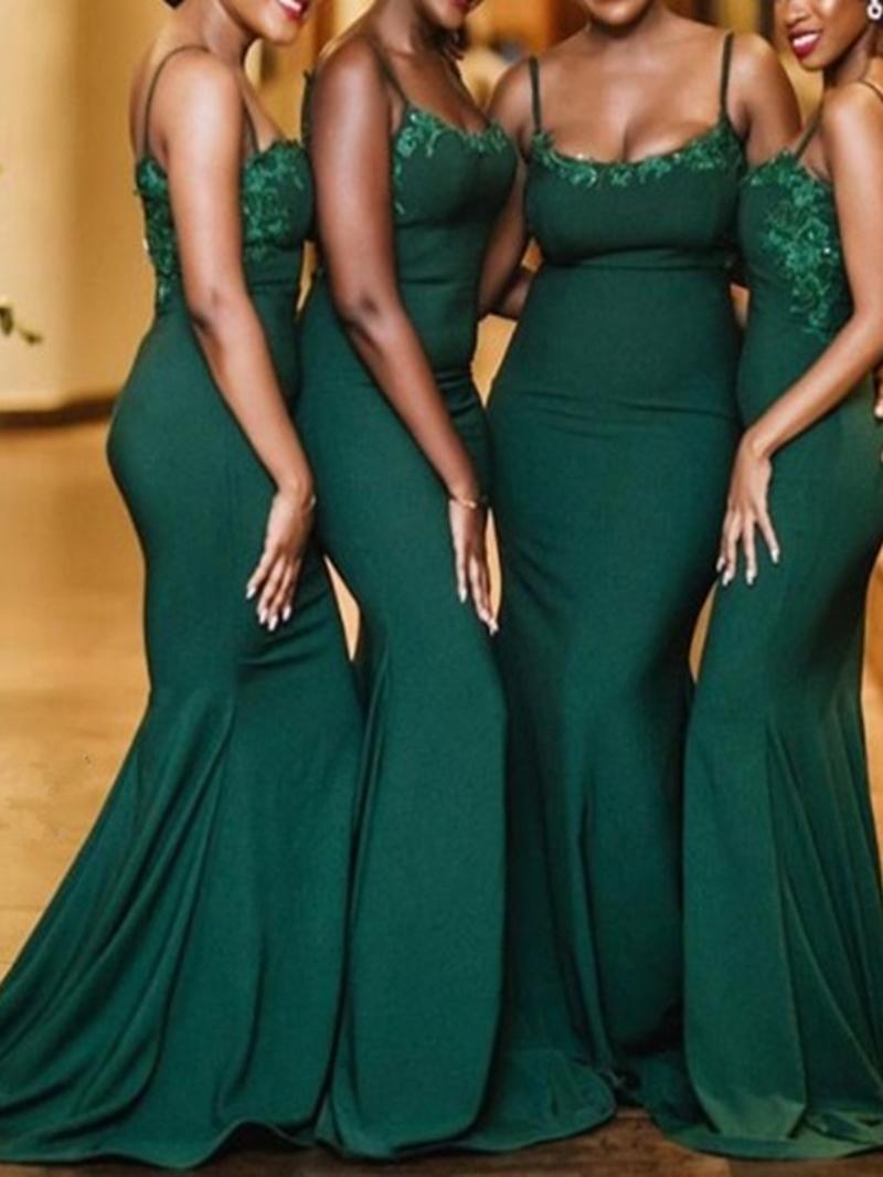 Ericdress Appliques Spaghetti Straps Mermaid Bridesmaid Dress