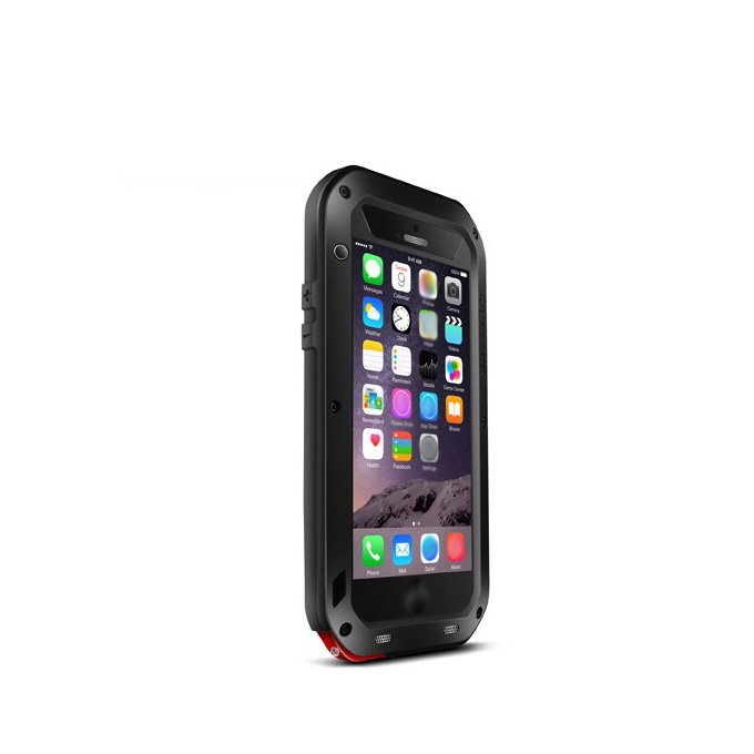 Love Mei Water Resistant Dirt/Shockproof Protective Metal and Silicon Cover Case For  iPhone 6 Plus - Black