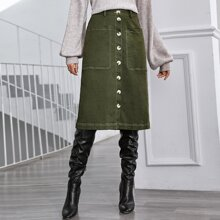 Button Front Pocket Patched Skirt