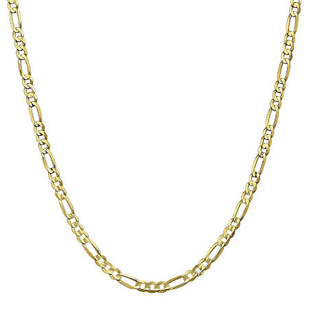 10K Gold 18 Inch Solid Figaro Chain Necklace, One Size , No Color Family