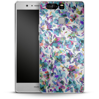 Huawei P9 Silikon Handyhuelle - Aquatic Flowers Blue von Ninola Design