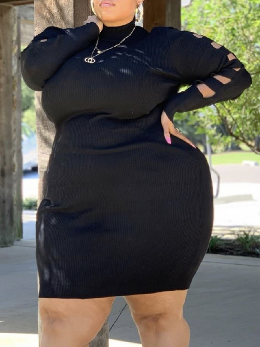 LW lovely Casual Turtleneck Hollow-out Black Mini Plus Size Dress
