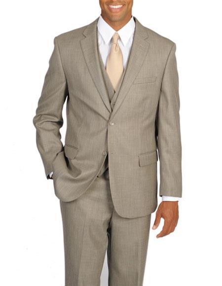 Caravelli Men's 3 Piece Tan Single Breasted Notch Lapel Vested Suit