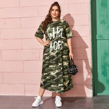 Plus Letter Graphic Camo Tee Dress