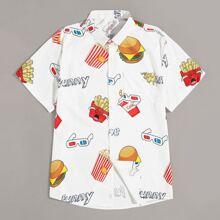 Men Fast Food Print Shirt