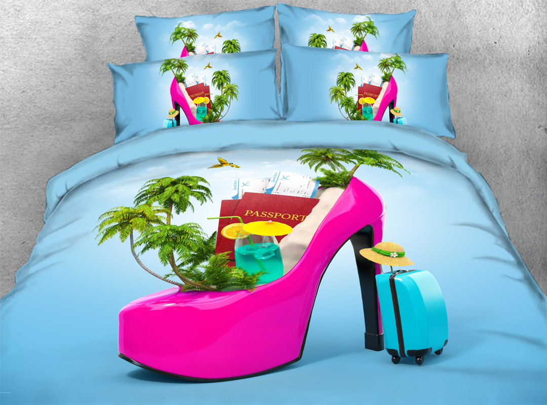 3D High Heel and Palm Tree 5-Piece Holiday Comforter Set Polyester Zipper Ties Sky Blue Colorfast/Wear-resistant/Skin-friendly Bedding Sets