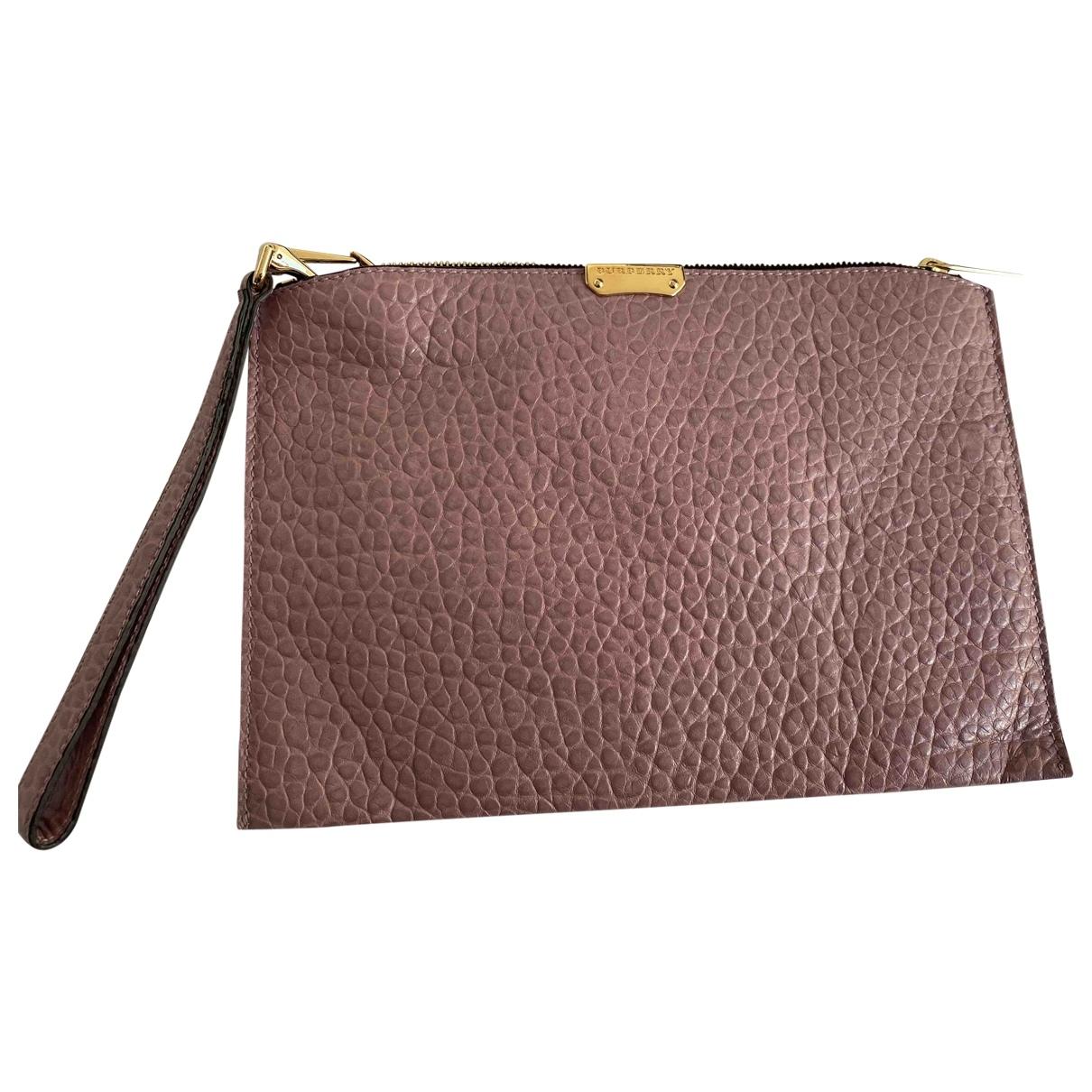 Burberry - Pochette   pour femme en cuir - rose
