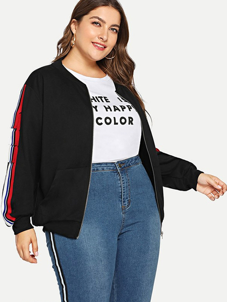 Yoins Plus Size Black Pocket Design Jacket