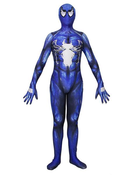 Milanoo Marvel Comics Spider Man Cosplay Spider Man Blue Film Venom Lycra Spandex Jumpsuit Leotard Marvel Comics Cosplay Costume