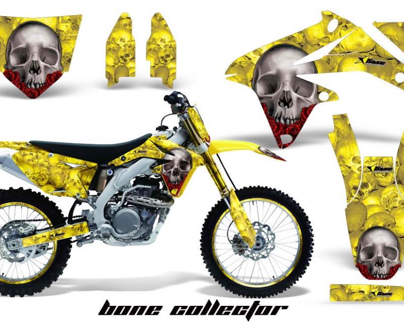 AMR Racing Graphics MX-NP-SUZ-RMZ450-08-17-BC Y Kit Decal Sticker Wrap + # Plates For Suzuki RMZ450 2008-2017 BONES YELLOW