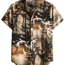 Men Landscape Print Button Up Shirt