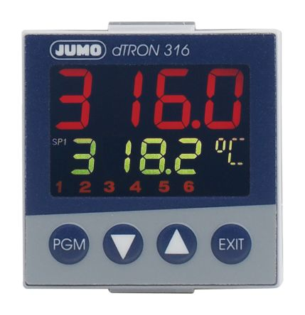 Jumo dTRON PID Temperature Controller, 48 x 48 (1/16 DIN)mm 1 (Analogue) Input, 1 Output Analogue, 110 → 240 V