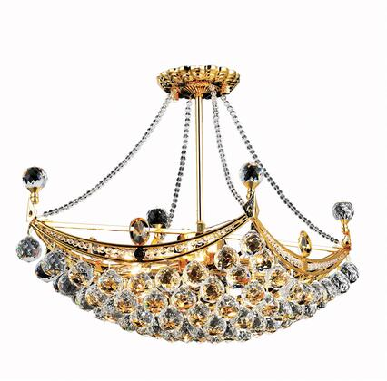 V9800D24G/EC 9800 Corona Collection Chandelier L:24 In W:14In H:18In Lt:6 Gold Finish (Elegant Cut