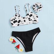 Girls Cow Print Bikini Swimsuit With Scrunchie