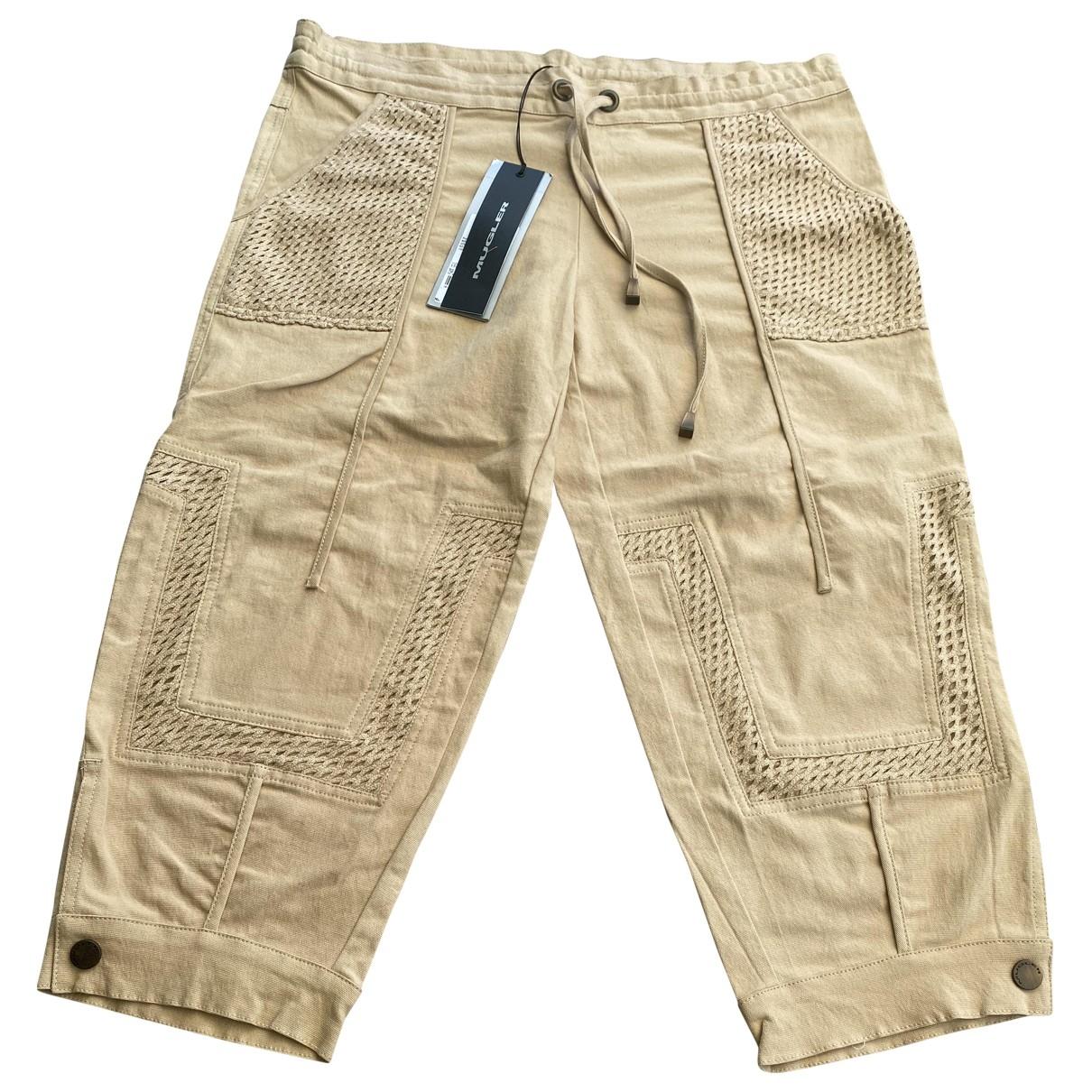 Mugler \N Beige Cotton Trousers for Women 42 IT