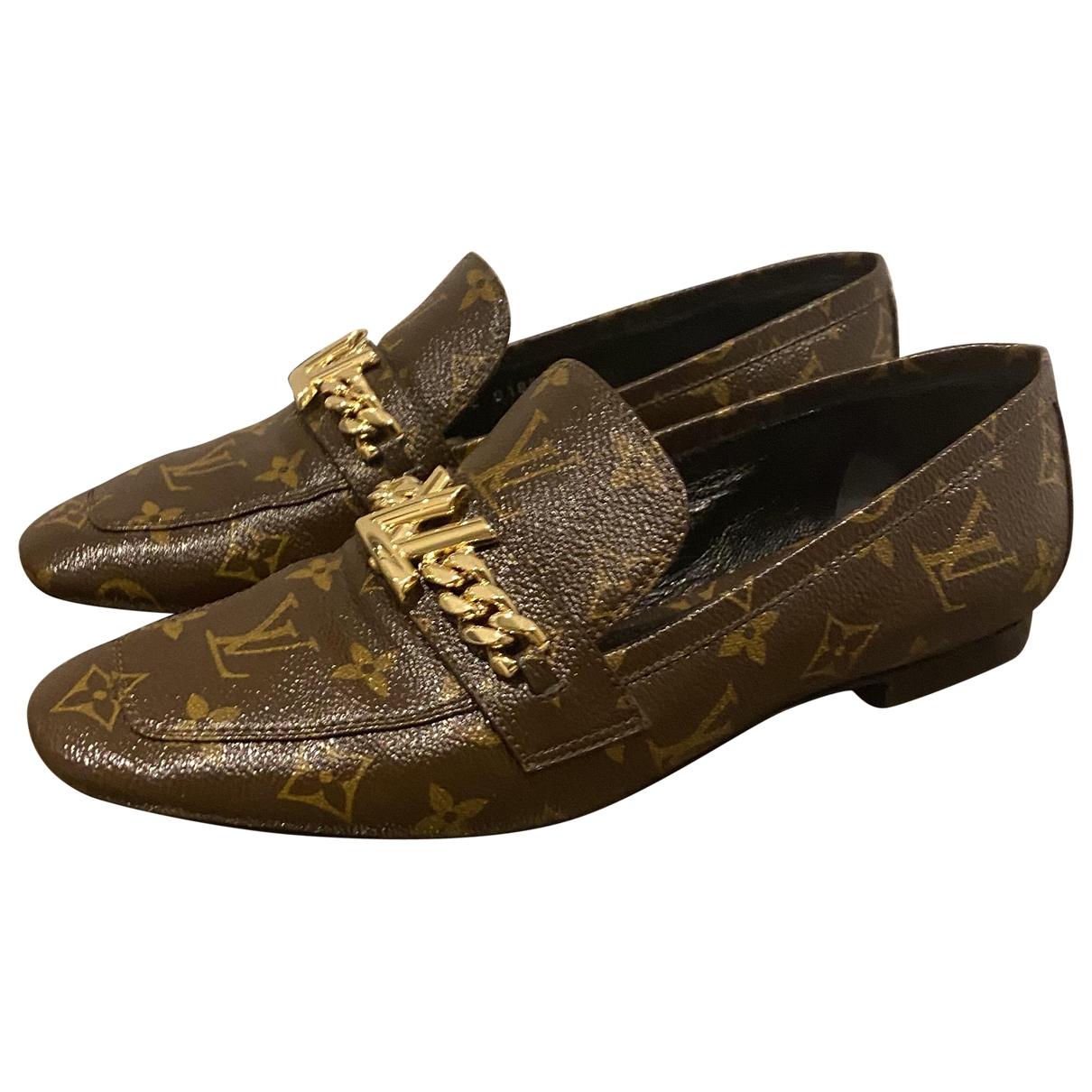 Louis Vuitton Upper Case Brown Leather Flats for Women 40 EU