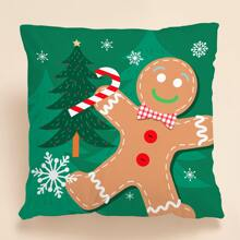 Christmas Gingerbread Print Cushion Cover Without Filler
