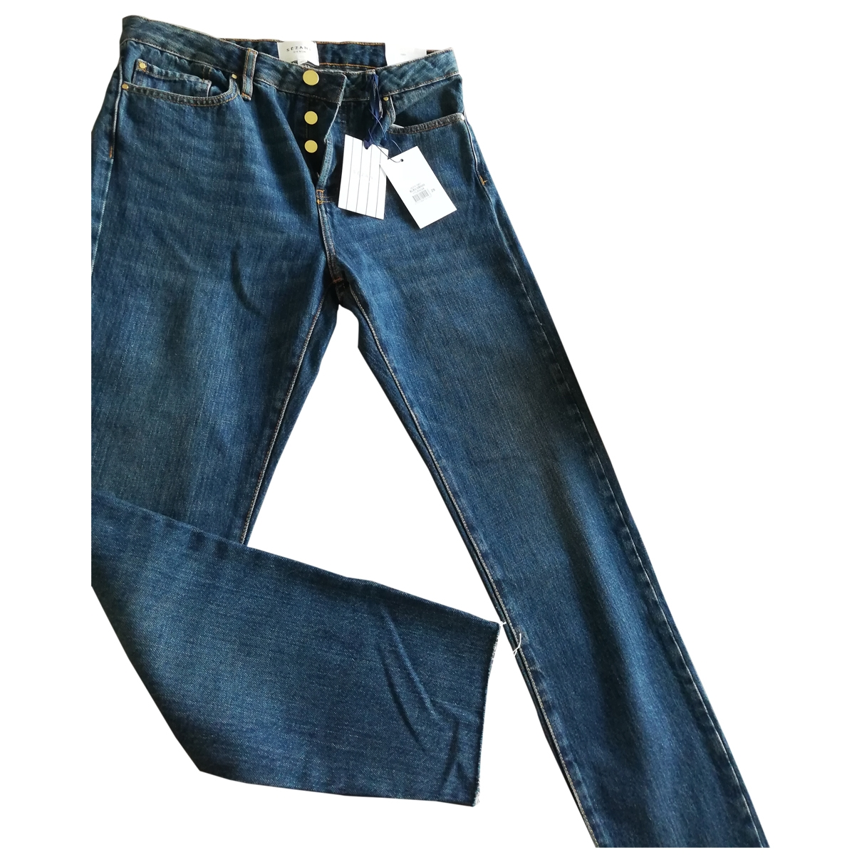 Sézane \N Blue Cotton Jeans for Women 29 US