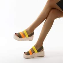 Open Toe Colorblock Slingback Espadrille Wedges