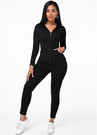 Zipper Closure Hooded Collar Pocket Top and Pants - M