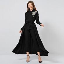 Surplice Neck Applique Detail Tie Front Jumpsuit With Skirt