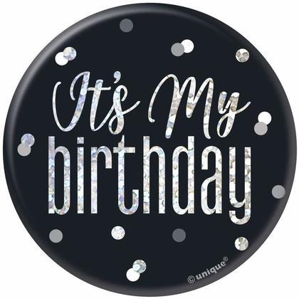 Birthday Glitz Black & Silver Birthday Badge, 1ct -