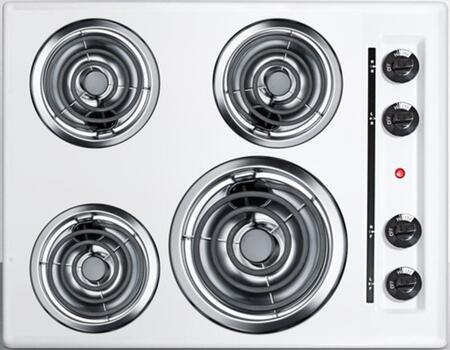 WEL03 24 Coil Electric Cooktop With 4 Coil Elements  Porcelain Cooking Surface  Recessed Top  Chrome Drip Bowls  230V Electric Cooktop  In
