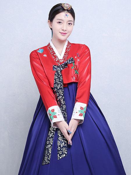 Milanoo Woman Korean Costumes Floral Print Embroidered Bow Brocade Dress Pink Hanbok Costume Set Halloween