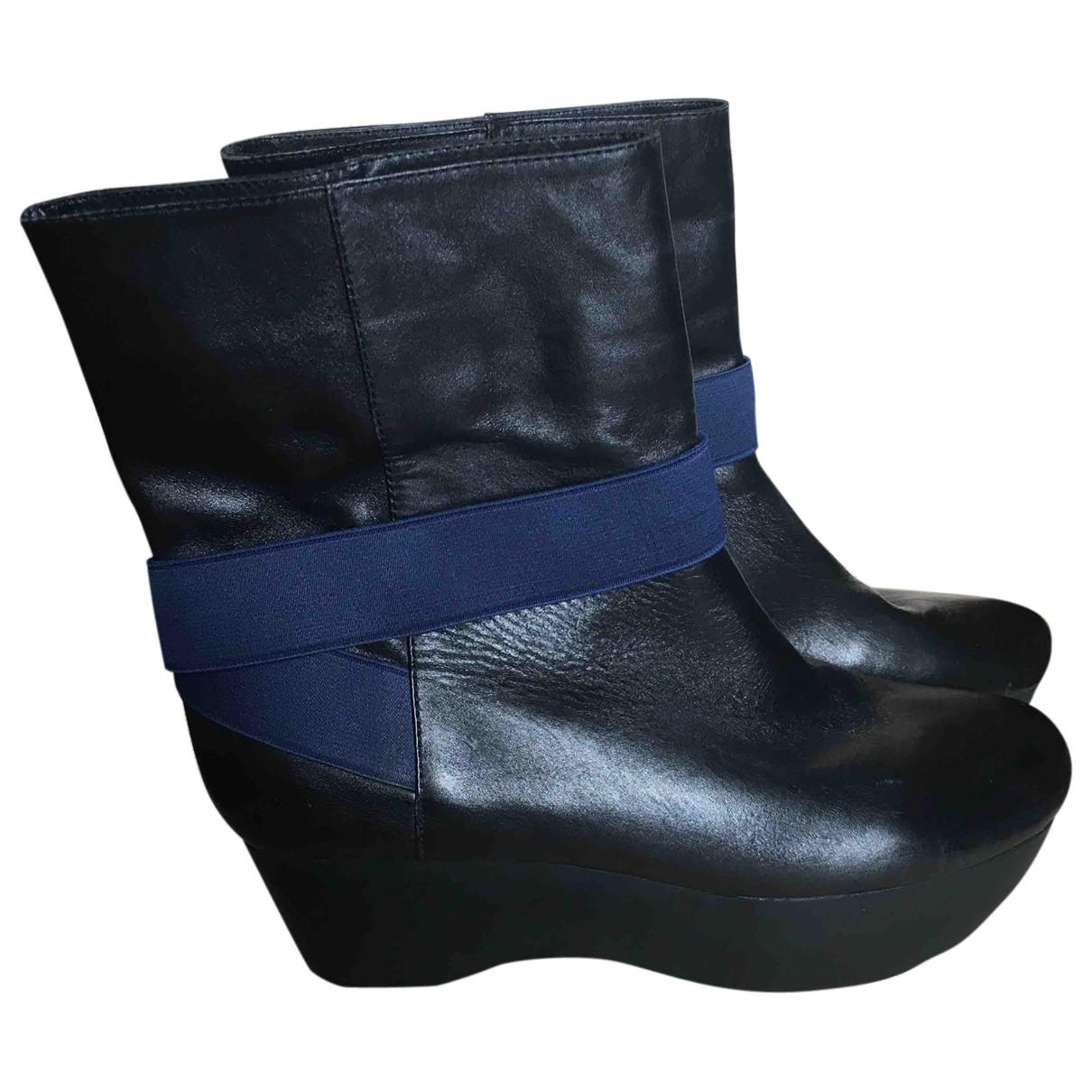Jil Sander - Boots   pour femme en cuir - noir