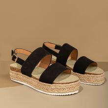 Double Band Slingback Espadrille Wedges