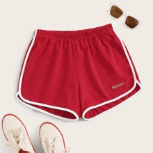 Plus Contrast Binding Letter Embroidery Track Shorts