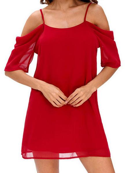 Milanoo Cold Shoulder Summer Dress Chiffon Bridesmaid Dress Half Sleeves 2020 Plus Size Short Shift Dress