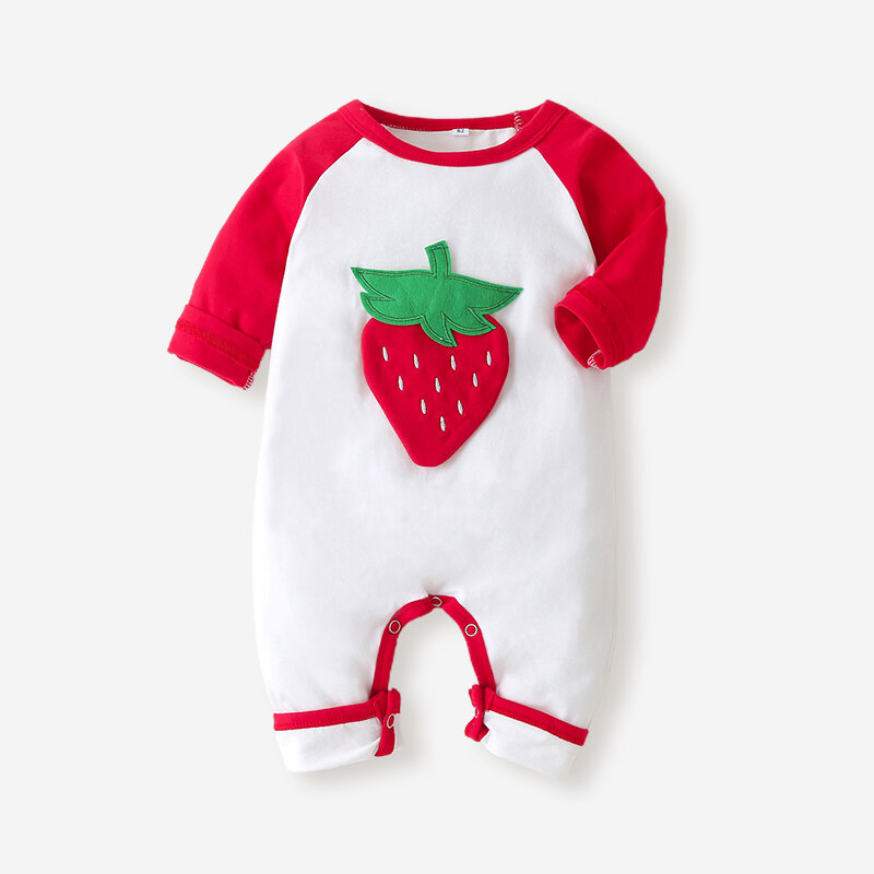 Baby 3D Fruit Print Long Sleeves Casual Rompers For 3-18M